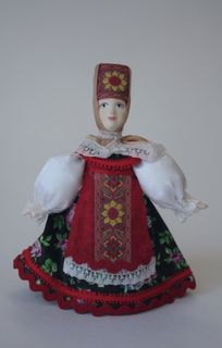 Doll gift porcelain. Cossack in summer dressy suit. 18-19 centuries Russia.