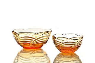 "Crystal salad bowl ""Russian spaces"" amber"