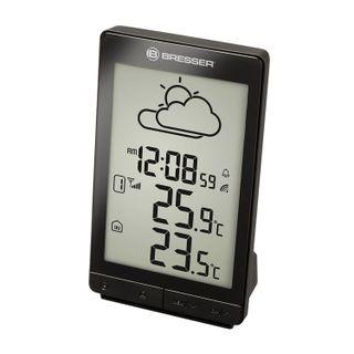 Meteorological station BRESSER TemeoTrend STX, temperature sensor, clock, alarm clock, black