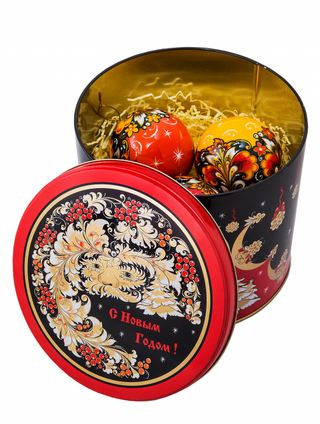 Christmas set, 3 Christmas balls, music box, Khokhloma painting