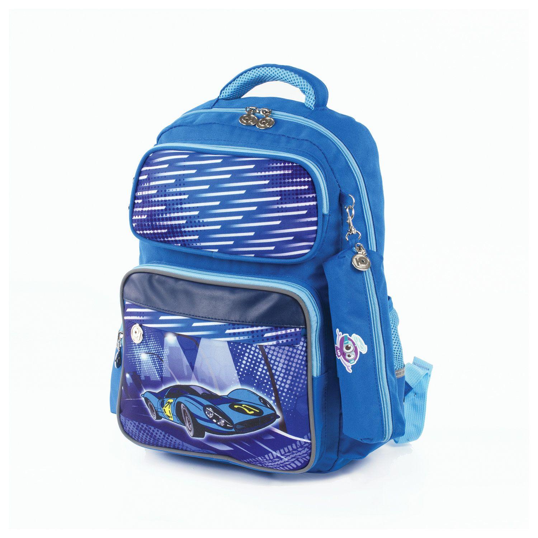 """INLANDIA backpack with pencil case in the kit, ergo-backrest, boys, """"Car"""", 42х29х14 cm"""