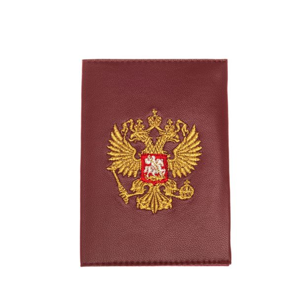 Passport cover with the emblem of leather handmade 'eagle'