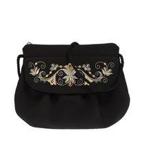 """Handmade black bag over the shoulder """"Bindweed"""", Torzhok gold seamstresses"""