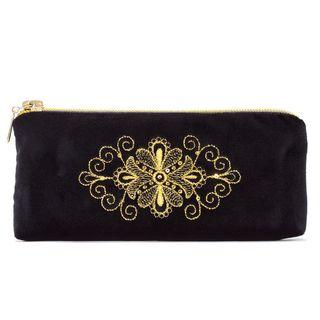 Velvet eyeglass case Pattern, black with gold embroidery