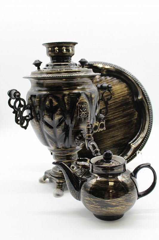 """Dulevo porcelain / Electric samovar 3 l. """"Golden threads"""" in a set with auto-off."""