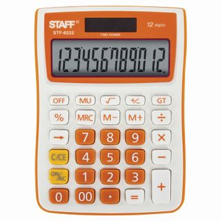 Desktop calculator STAFF STF-6222, COMPACT (148x105 mm), 12 digits, dual power supply, ORANGE, blister