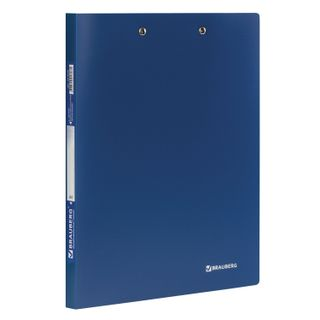 Folder with 2 metal clamps BRAUBERG standard, blue, 100 sheets 0.6 mm