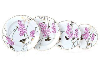 Dulevo porcelain / Set of plates 24 pcs. Cut edge pink branch
