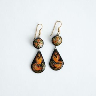 "Palekh / Earrings ""Firebird"", master Paramonova"