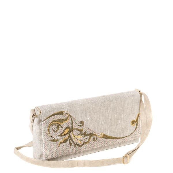 Linen clutch 'grace' grey with gold embroidery