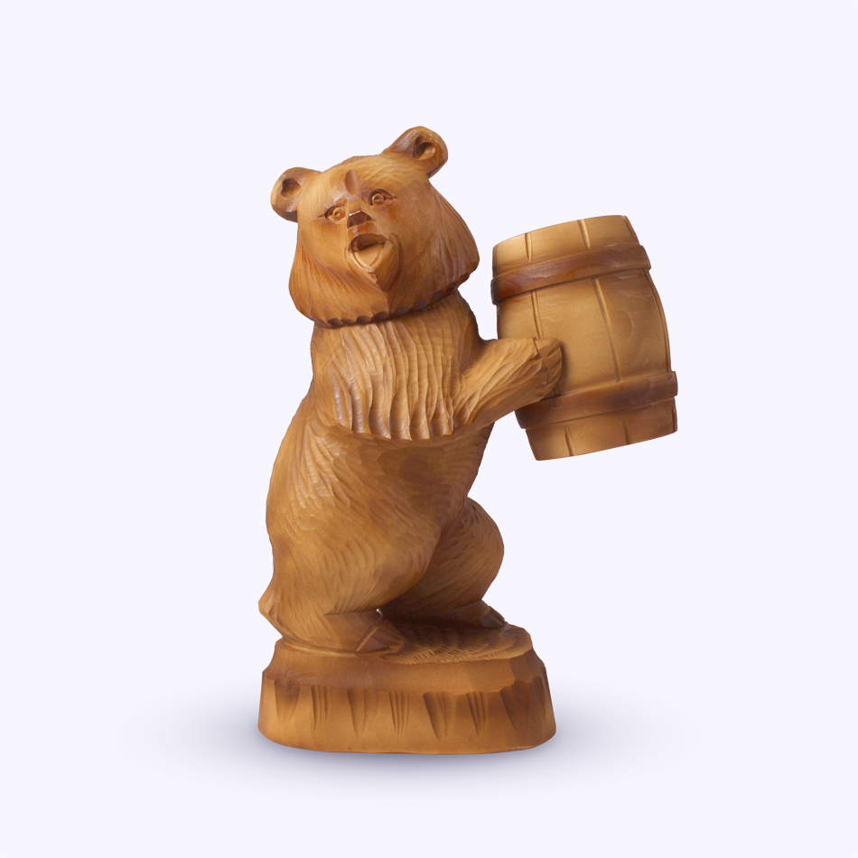 "Bogorodskaya toy / Wooden souvenir ""Bear with a box"""