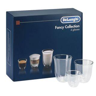 SET of coffee DELONGHI Mix Glasses Set, 2 espresso, 2 cappuccino, 2 lattes, glass, transparent