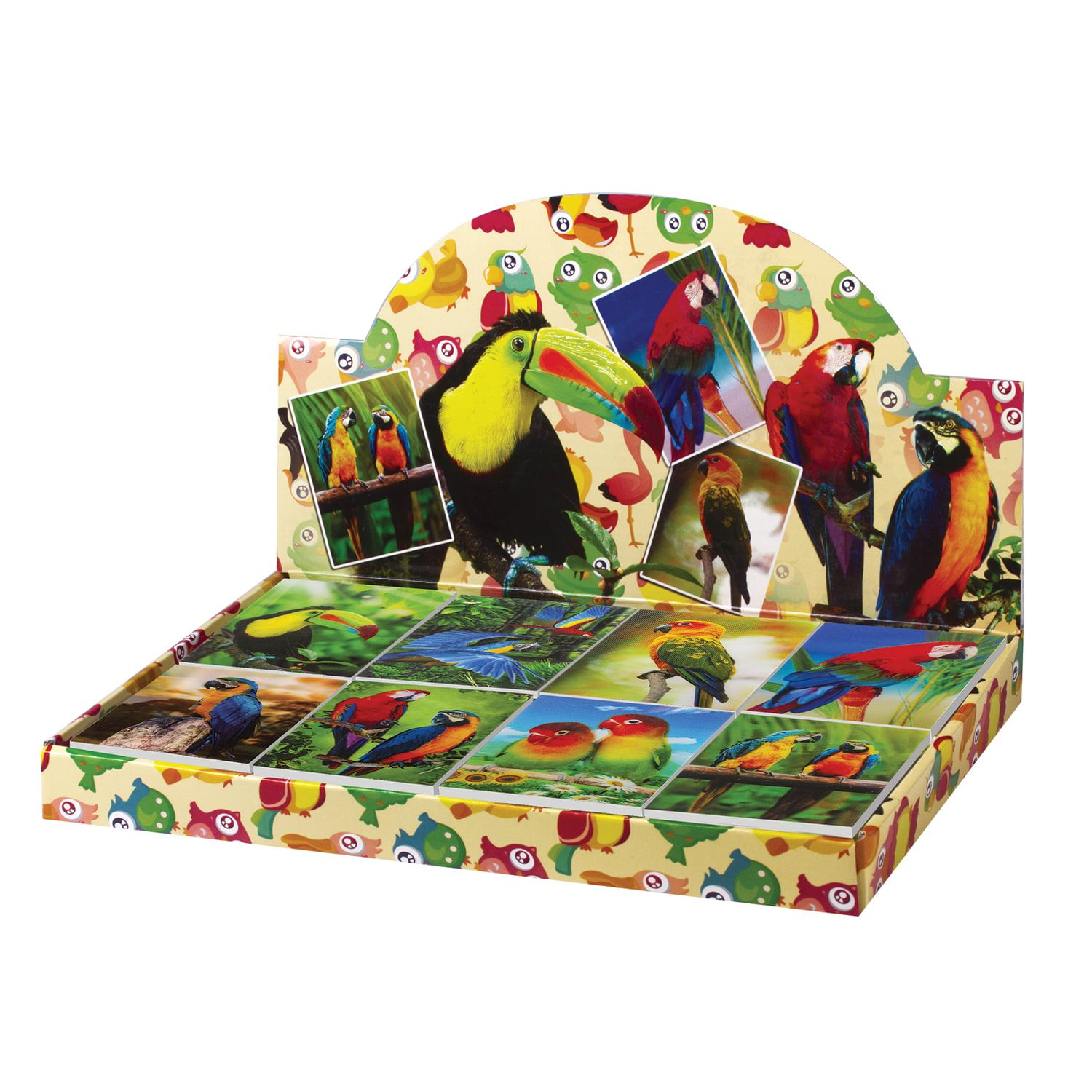 """BRAUBERG / Non-ruled notebook """"Parrots"""" SMALL FORMAT 40 sheets A7, 64x82 mm, gluing, plastic 3D cover, assorted"""