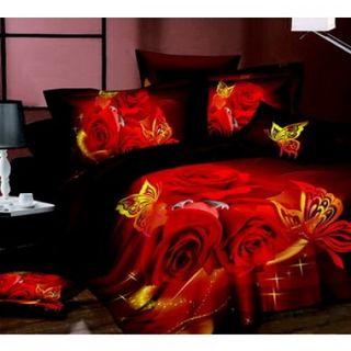 Linen Satin 3D Roses & butterflies
