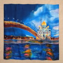 Scarf 'Moscow. Cathedral of Christ the Savior'