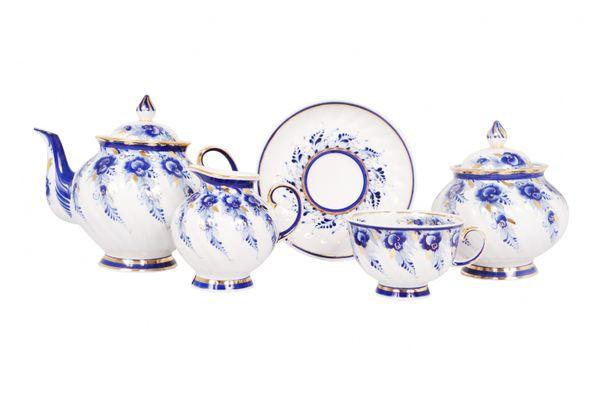 Dulevo porcelain / Tea set 15 pcs. Blue Rose Gold