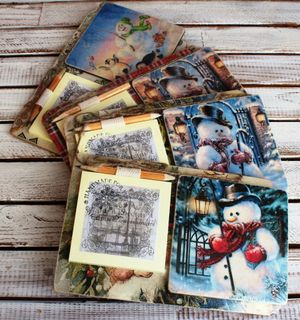 Souvenir fridge magnet with a notebook Snowmen mix Milotto art.004255