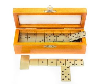 Set of zirconia dominoes in a box