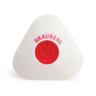 Eraser BRAUBERG Energy 45х45х10 mm, white, triangular, thermoplastic rubber, plastic holder