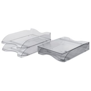 Horizontal trays for papers, SET of 2 pieces (350х255х140 mm), tinted gray, STAMM