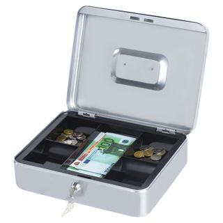 Box for money, valuables, documents, stamps, 90x240x300 mm, key lock, silver, BRAUBERG