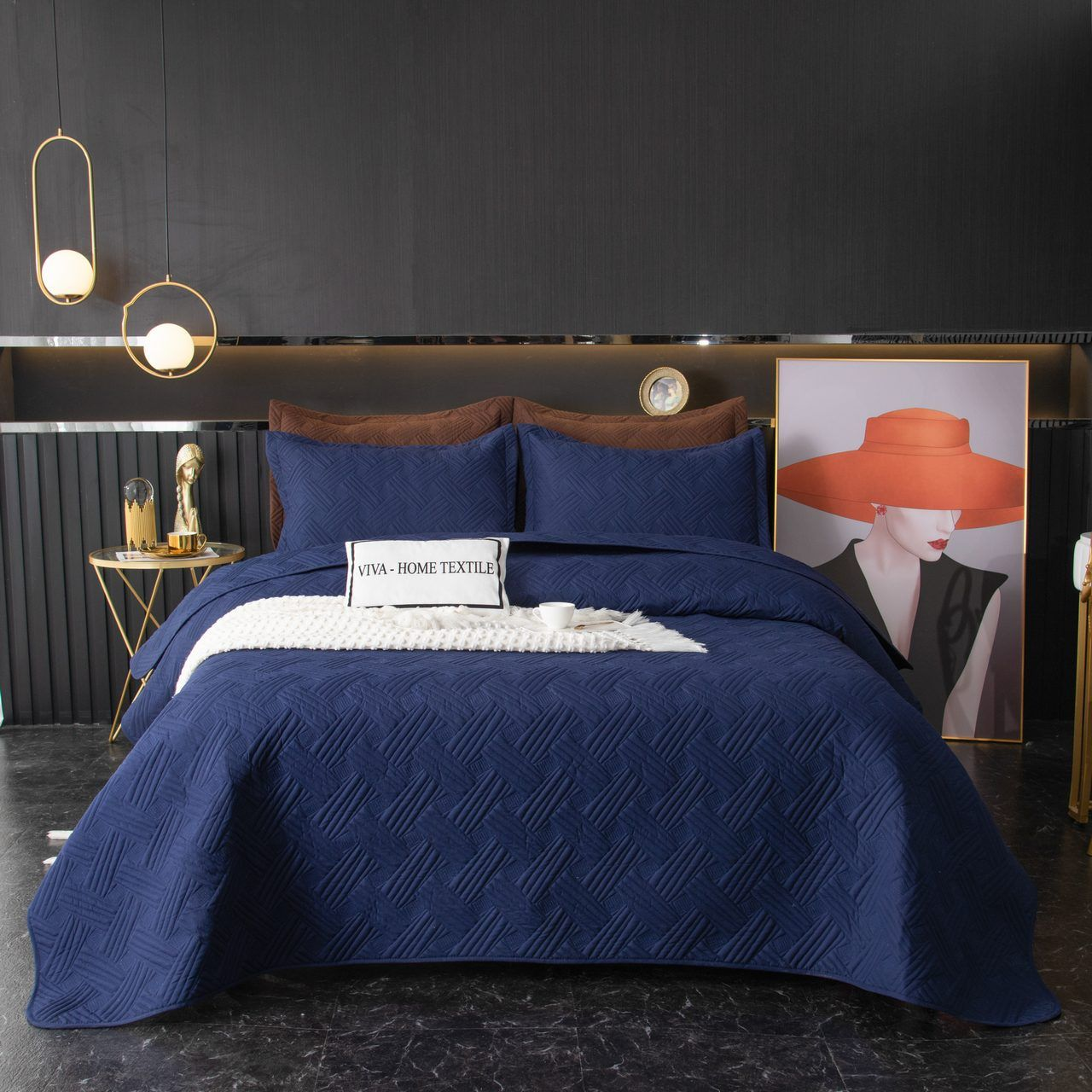 Sitrade / Set single color quilted bedspread and two pillowcases 50-70, OP021