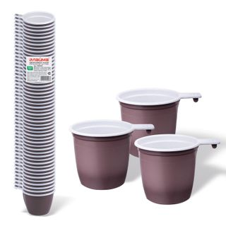 """LIMA / Disposable cups for tea and coffee 200 ml, SET 50 pcs., Plastic, """"BUDGET"""", white-brown, PP"""