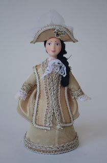 Doll gift porcelain. Aristocrat in riding costume. The 1st half of the 18th century. Russia.