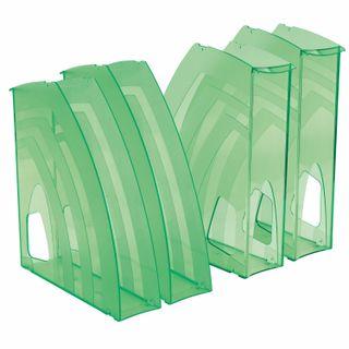 The vertical trays for papers, SET of 4 PCs., 240х70х270 mm tinted green, BRAUBERG