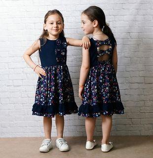 Dress for girls dark blue