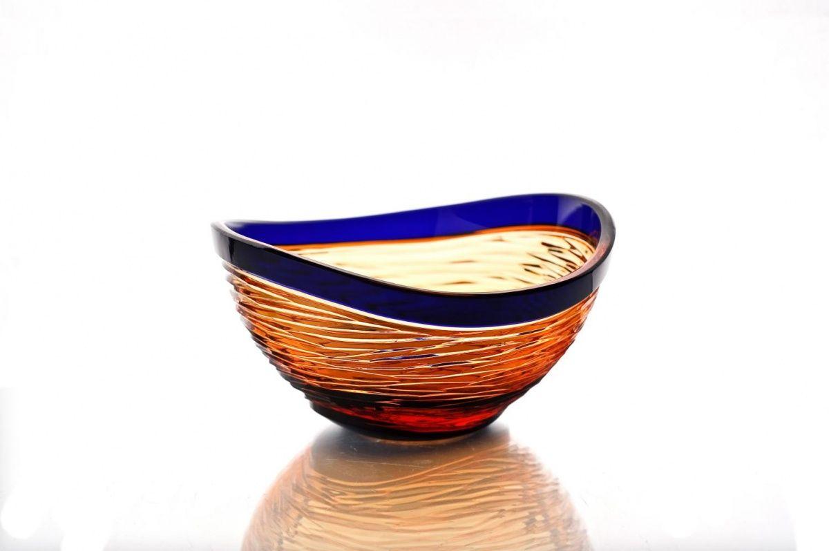 """Crystal vase for cookies """"Serenade"""" amber-blue"""