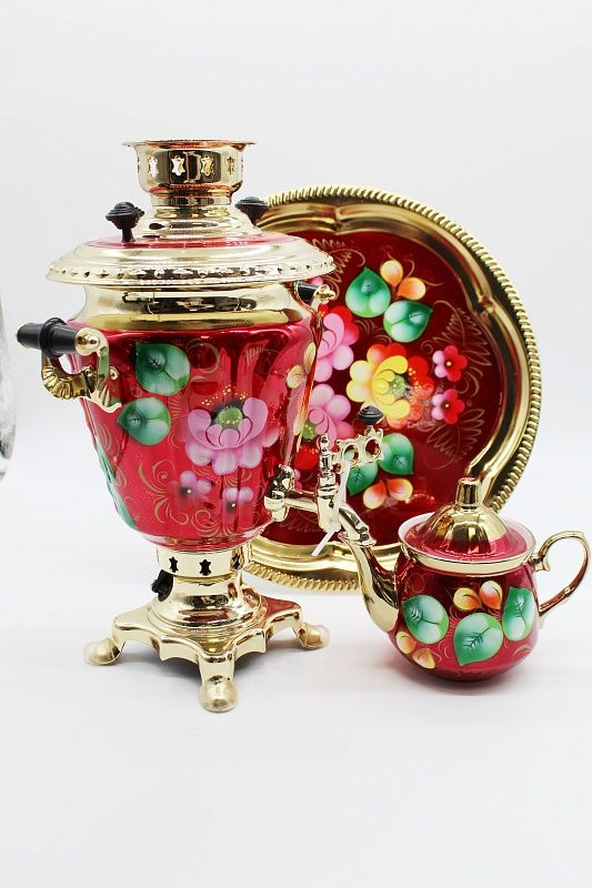 "Dulevo porcelain / Electric samovar 3 l. ""Zhostovo on red"" in the set"