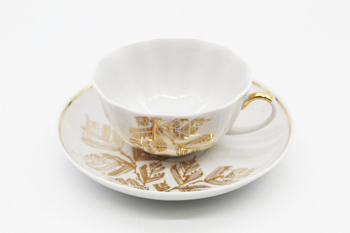 Dulevo porcelain / Set of tea cup with saucer, 12 pcs., 220 ml Tulip Golden branch