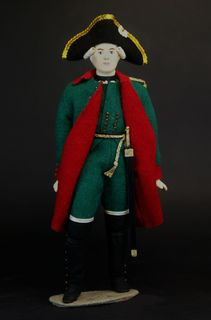 Doll gift porcelain. Military costume of the garrison of the chief officer.(Grinev). 1762-1786, Russia.