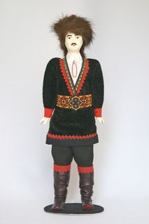 Doll gift porcelain. Male Bashkir national costume.