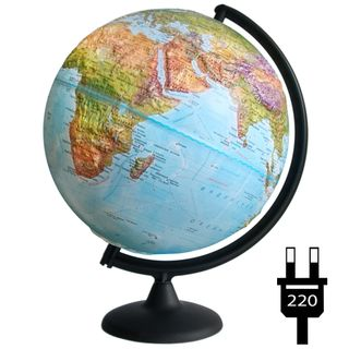 Geographical relief globe with a diameter of 300 mm with backlight