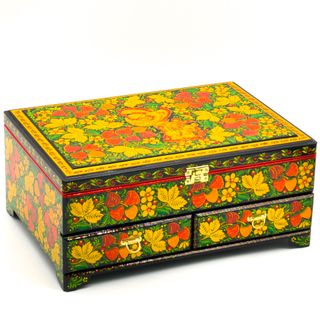 Casket with drawers wooden black 320x230