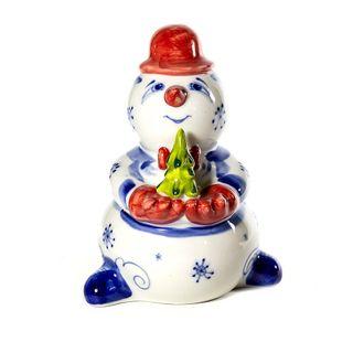 The sculpture Snowman with tree color-painted underglaze 1 grade, Gzhel Porcelain factory
