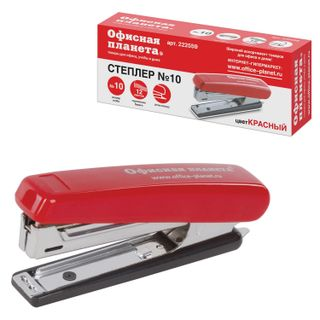 Stapler No. 10 OFFICE PLANET, up to 12 sheets, with staple remover, red