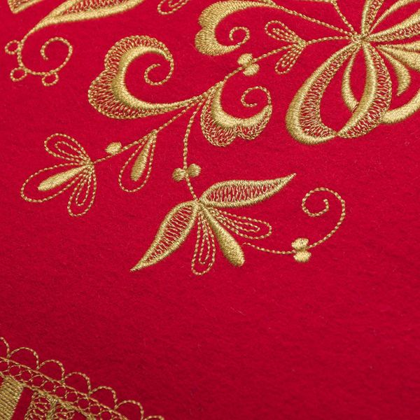 Cushion divan 'Dreams' red color with Golden embroidery