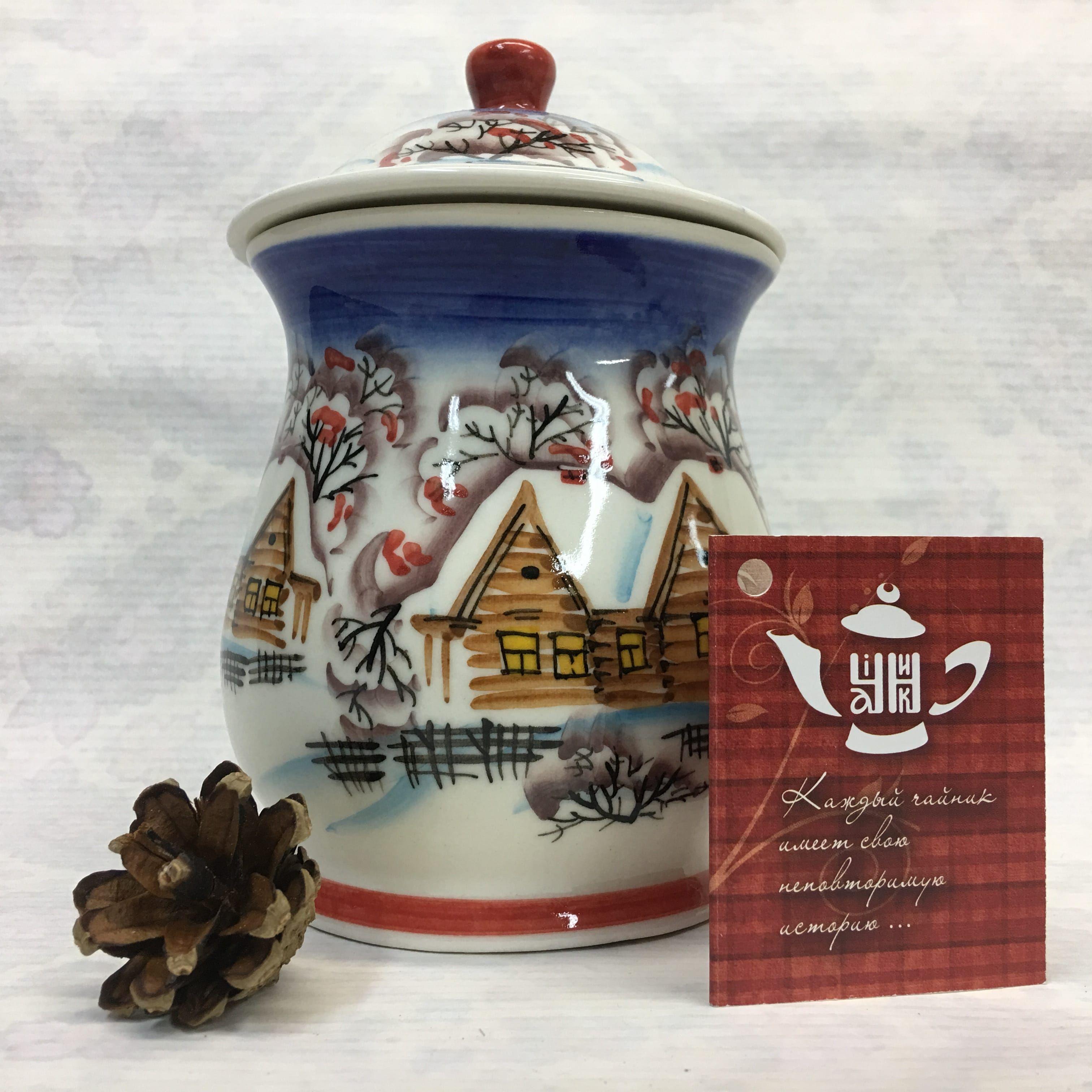 "Cheerful porcelain / Porcelain sugar bowl ""Winter village, night"", author Ogorodnikova O."