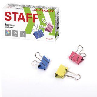 The holders STAFF Profit, SET 12 PCs, 25 mm, 100 sheets, colored cardboard box