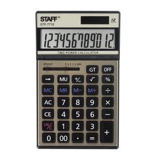 Desktop metal calculator STAFF STF-7712-GOLD (179x107 mm), 12 digits, dual power supply, blister