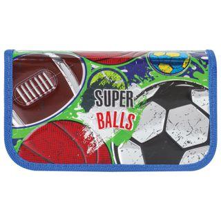 BRAUBERG pencil case, 2 compartments, metalized cardboard, convex, 19х11 cm, Super-balls