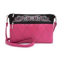 Leather bag 'Theresa' pink color with silver embroidery