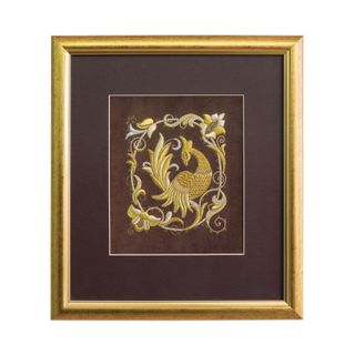 "Panels hand embroidery ""Bird PAVA"" brown with gold embroidery"