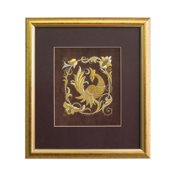 Panels hand embroidery 'Bird PAVA' brown with gold embroidery