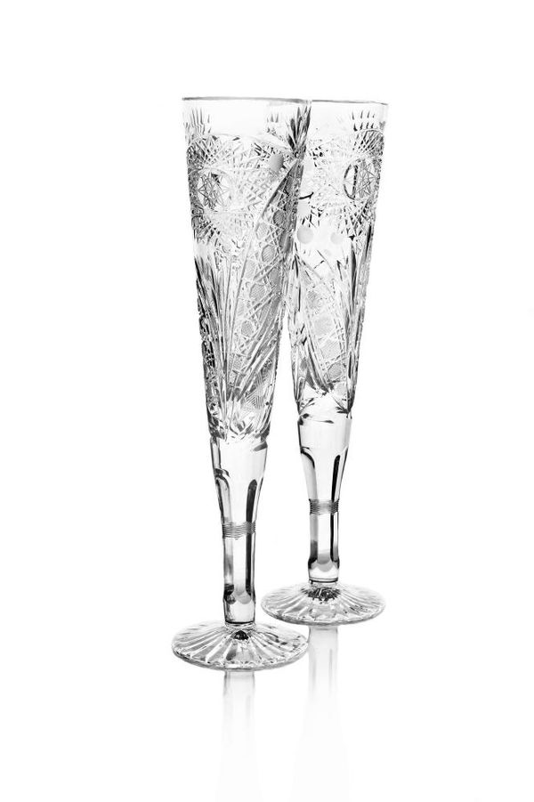 """Set of crystal glasses """"Knight"""" colorless 2 pieces"""