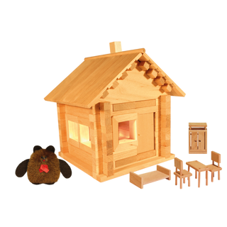 Designer Hut house with dolls, furniture and wiring, 106 elements, Pelsi