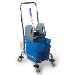 BRABIX / Cleaning trolley 1 removable bucket 25 l, mechanical spinning, basket, metal frame, blue